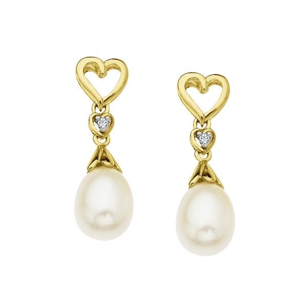 Freshwater Pearl Heart Drop Earrings with Diamonds in 10K Gold