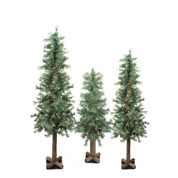 Set of 3 Pre-Lit Woodland Alpine Artificial Christmas Trees 3', 4' and 5' - Multi-Color Lights