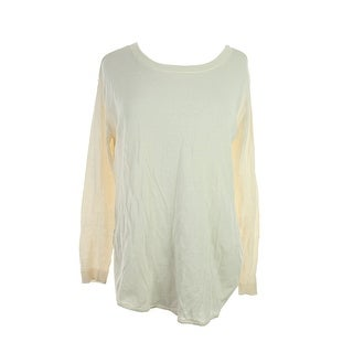Made For Impulse Fashion Week Natural Long-Sleeve Sheer-Paneled Sweater L