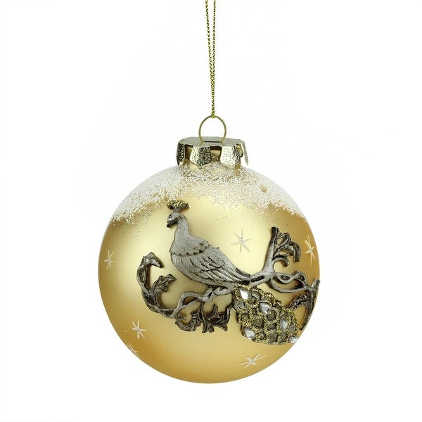 """3.25"""" Frosted Gold Embellished Peacock Design Glass Ball Christmas Ornament (80mm)"""