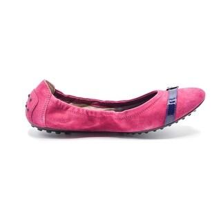 Tod's Pink Womens Suede Ballerina Dee Buckle Flats - 9.5