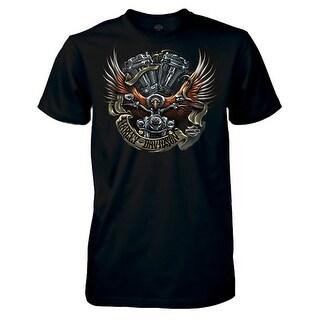 Harley-Davidson Men's Eagle Ride Short Sleeve Crew Neck T-Shirt, Solid Black (Option: 3xlt)