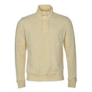 Tommy Hilfiger Sweatshirt Medium M Seedpearl Beige Quarter Zip Mockneck