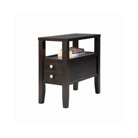 Wooden End Table with Upper Shelf and 2 Drawers, Dark Brown