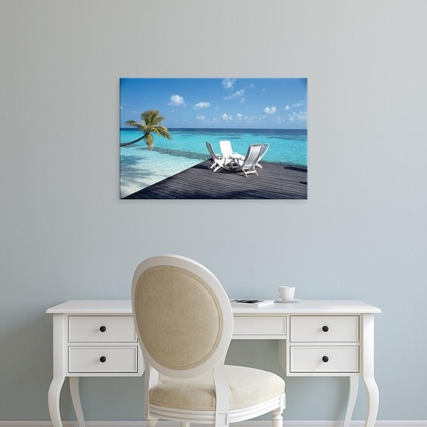 Easy Art Prints Panoramic Images's 'Lounge chairs on the beach' Premium Canvas Art
