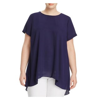 Vince Camuto Womens Plus Blouse Crepe Back Pleat