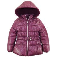 Pink Platinum Girls Coat All Over Spray Print Winter Jacket with Mock Belt