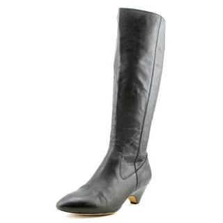 Steven Steve Madden Veta Women Round Toe Leather Black Knee High Boot