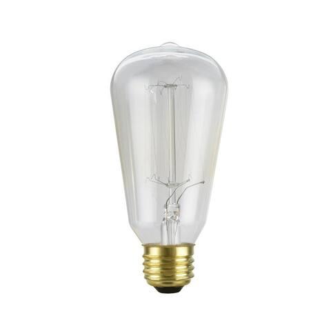 Aspen Creative S19 Vintage Edison Filament Light Bulb, 60 Watt Medium (E26) Base, Clear (Set of 6)