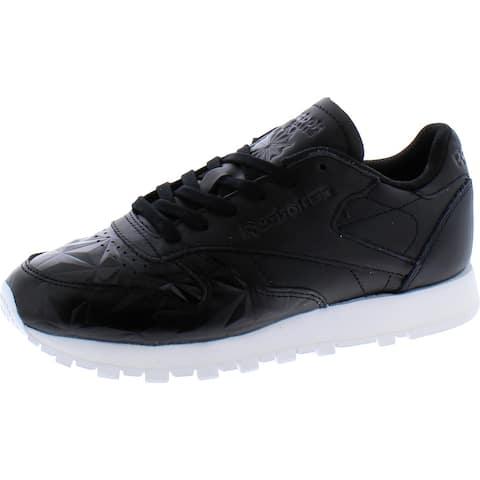 Reebok Womens Hype Metallic Fashion Sneakers Leather Lifestyle - Black/White