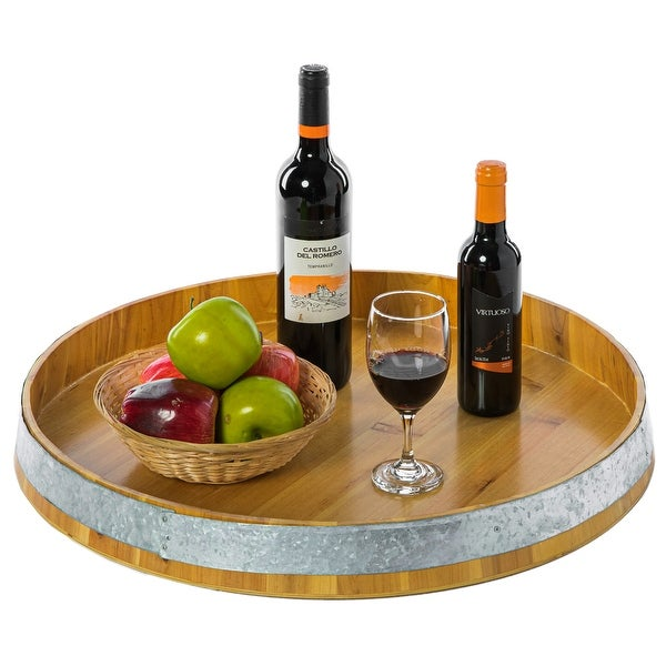 Large Barrel Head Decorative Storage Serving Tray. Opens flyout.