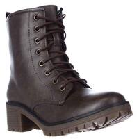 madden girl Eloisee Lace-up Combat Boots, Brown