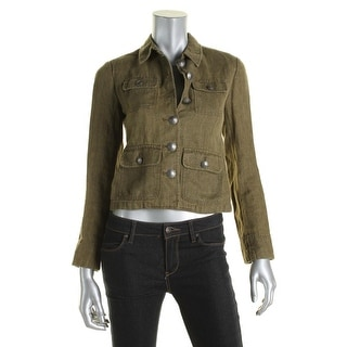 Lauren Ralph Lauren Womens Petites Military Jacket Linen Button Front
