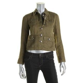 Lauren Ralph Lauren Womens Petites Military Jacket Linen Button Front