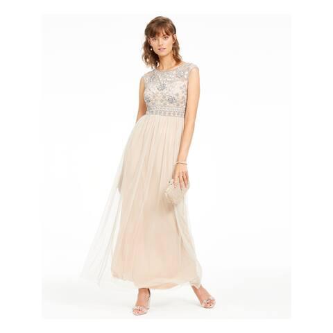 ADRIANNA PAPELL Beige Sleeveless Maxi Dress 16