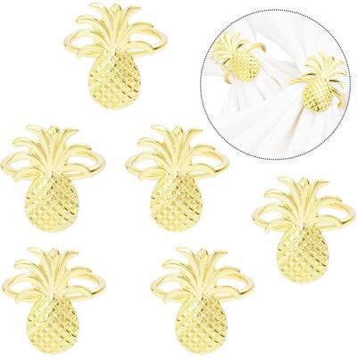 6pcs Golden Pineapple Napkin Rings Holder for Dinner Table Decor Wedding Party