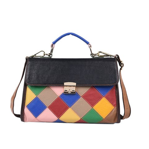 CHAOS BY ELSIE Blue Mosaic Theme Genuine Leather Convertible Tote Bag - 13x4.3x9 inches