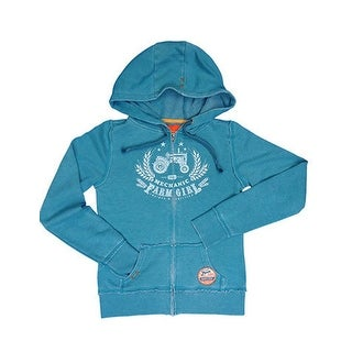 Farm Girl Western Sweatshirt Womens Burn Out Zip Turquoise