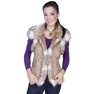 Scully Western Vest Womens Honey Creek Faux Fur Suede Hook Eye 8023