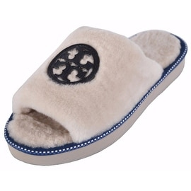 NEW Tory Burch Women's Natural White Shearling Fur Logo Slide Slippers Shoes 8