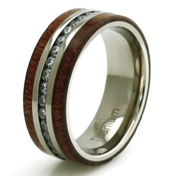 Titanium Cubic Zirconia Eternity Mahogany Wood Ring