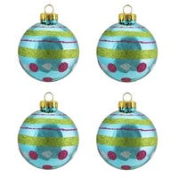 """4ct Teal Blue with Glitter Polka Dot & Stripe Design Glass Ball Christmas Ornaments 2.5"""" (65mm)"""