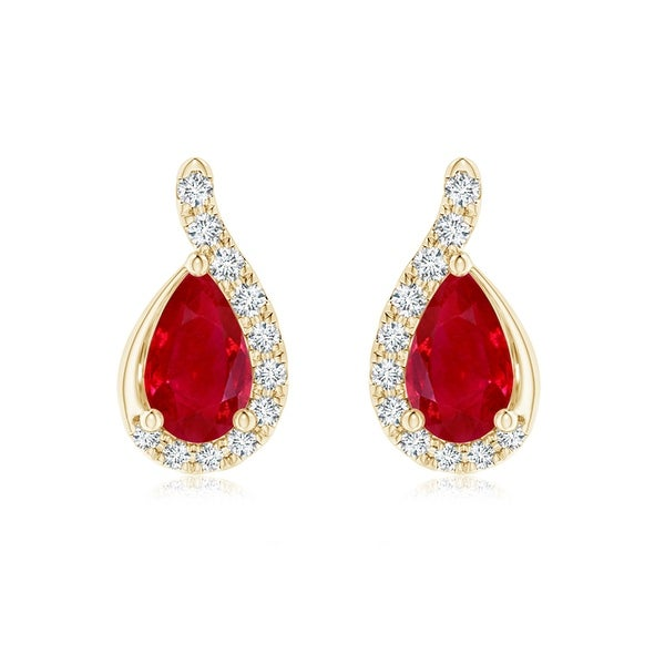 Angara Pear Shaped Ruby Drop Earrings with Wave Diamond Accents - White