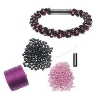 Refill - Deluxe Spiral Beaded Kumihimo Bracelet - Black and Pink  - Exclusive Beadaholique Jewelry Kit