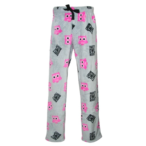 em & alfie Women's Party Owl Night Plush Pajama Sleep Pants