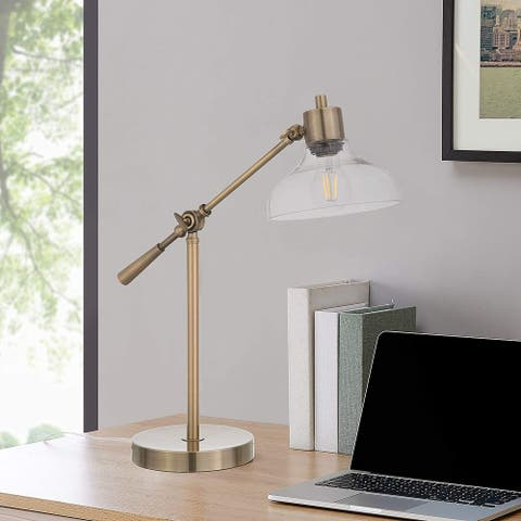 Q-Max Industrial Adjustable Height Desk Lamp with Glass Shade in Brushed Brass