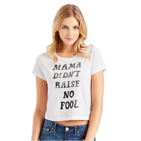 Aeropostale Womens Boxy No Fool Graphic T-Shirt, White, Small
