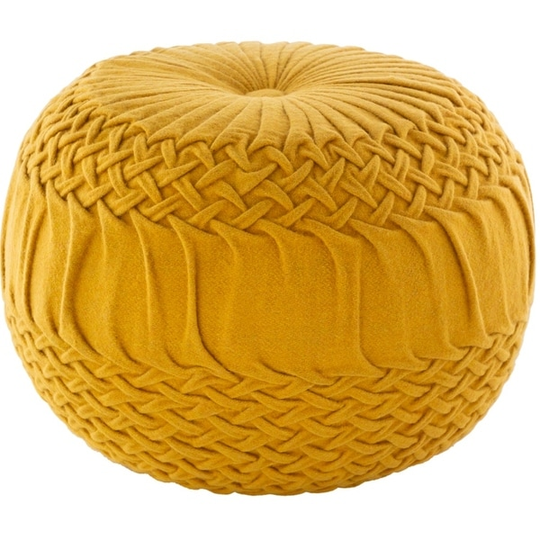 """18"""" Alana Yellow Knitted Design Hand Woven Wool Pouf Ottoman - N/A"""