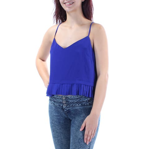 FRENCH CONNECTION Womens Blue Spaghetti Strap V Neck Top Size: M