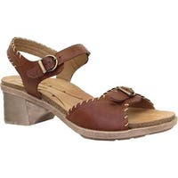 Dromedaris Women's Sandy Ankle Strap Sandal Cognac Leather