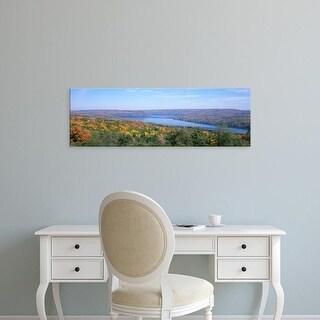Easy Art Prints Panoramic Image 'Lake surrounded by hills, Keuka Lake, Finger Lakes, New York State, USA' Canvas Art