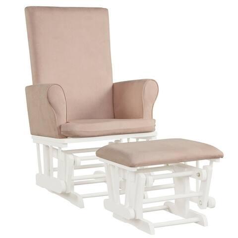 "Baby Nursery Relax Rocker Rocking Chair Glider & Ottoman Set - 27.5"" x 26"" x 40.5"" (L x W x H)"