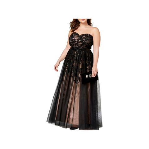Betsy & Adam Womens Plus Formal Dress Strapless Chiffon