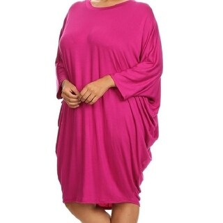 Fuschia Plus Size Solid Relaxed Fit Midi With 3/4 Dolman Sleeves Dress