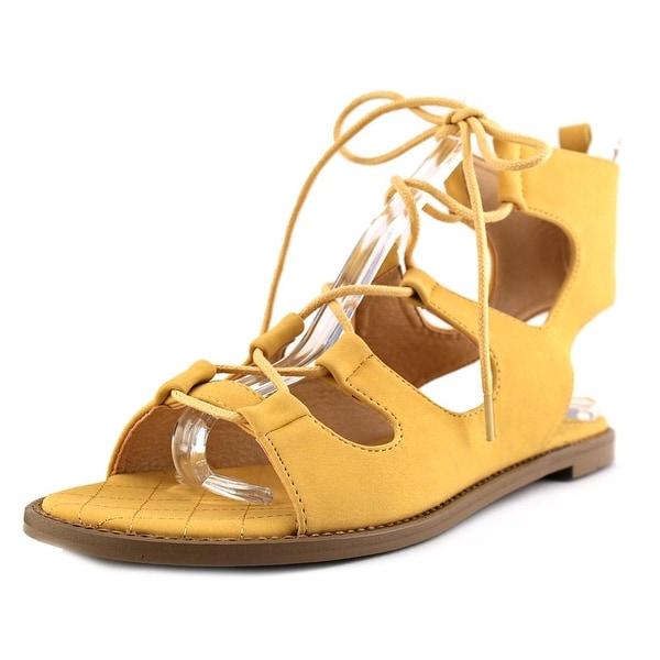 Chinese Laundry Guess Who Women Open Toe Canvas Yellow Gladiator Sandal