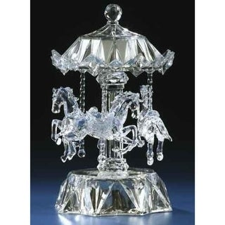 Icy Crystal LED Lighted Love Makes the World Go Round Musical Animated Carousel - Clear