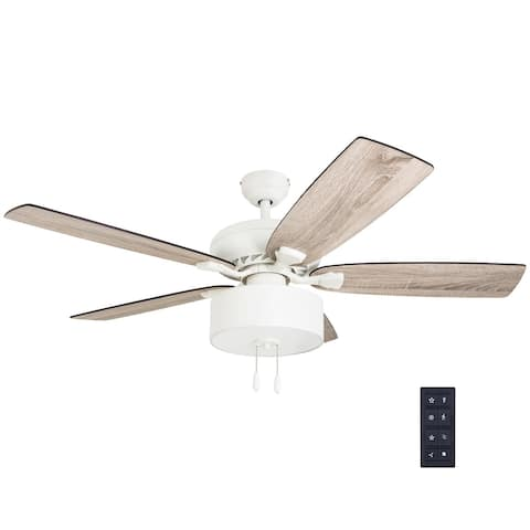 The Gray Barn Theobalds 52-inch Coastal Indoor LED Ceiling Fan with Remote Control 5 Reversible Blades - 52