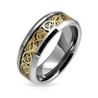 Tungsten Celtic Dragon Gold Plated Black Inlay Wedding Ring