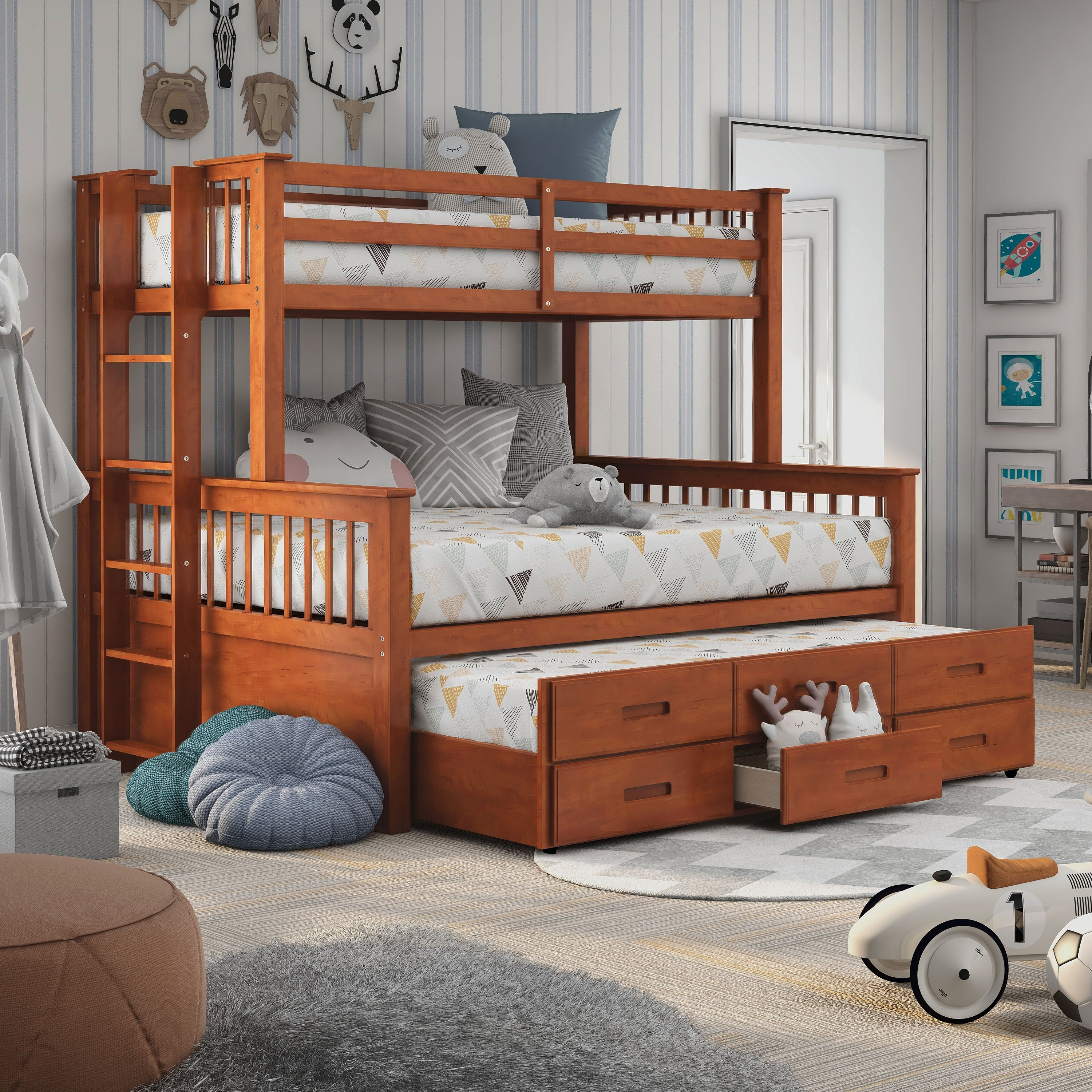 Furniture Of America Rola Mission Twin Xl Queen Bunk Bed Overstock 10302777