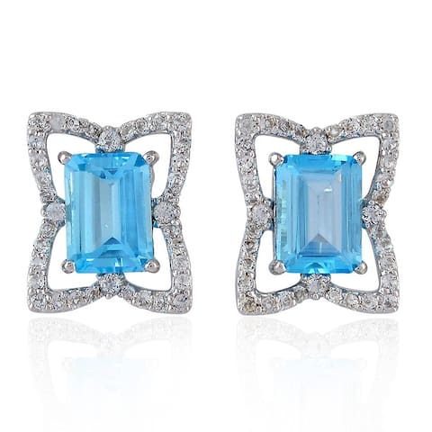 925 Sterling Silver Stud Earrings Prong Set Topaz Gemstone Handmade Jewelry With Free Jewelry Box