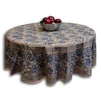 Handmade Vegetable Dye Block Print Cotton Tablecloth Rectangular 60x90 Inches 60x60 Square 72 Inch Round Napkins Blue Green Red