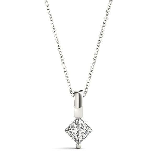 Solitaire Necklace Princess Cut 0.75 CT 14k Solid White Gold Pendant with Chain