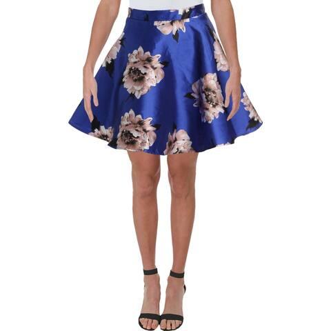 City Studio Womens Juniors A-Line Skirt Floral Special Occasion - Blue Multi - 9