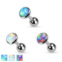 Opal Flat Top Surgical Steel Cartilage/Tragus Barbell - 16GA (Sold Ind.)