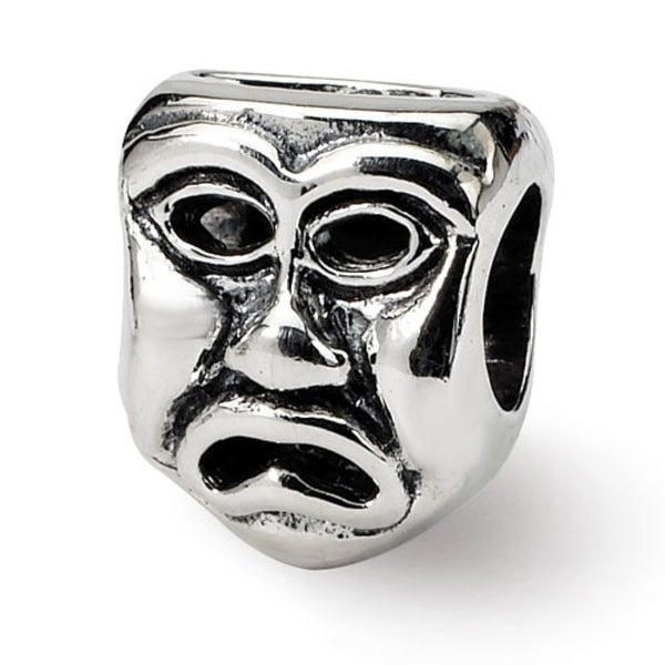 Sterling Silver Reflections Tragedy Mask Bead (4mm Diameter Hole)