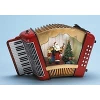 Amusements Musical Lighted Animated Accordion with Santa Claus Christmas Figure - RED